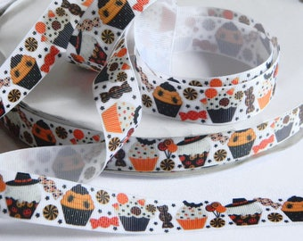 "Halloween Cupcakes Grosgrain Ribbon 5 yards of 7/8"" Cupcakes & Candy Print Orange and Black Ribbon for Hair Bows Costumes Party Favor Ties"