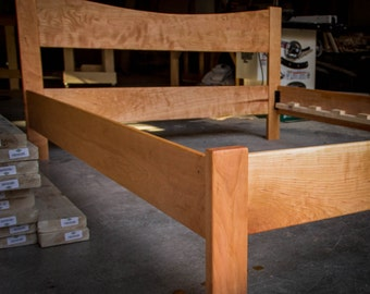 simple queen size platform bed frame w 12 curved headboard custom made of hardwoods ash oak curly maple ambrosia maple walnut cherry - Maple Bed Frame