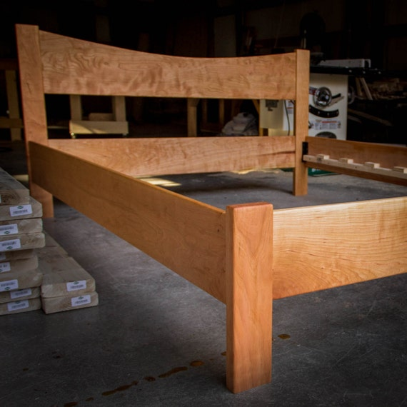simple queen size platform bed frame w 12 curved headboard custom made of hardwoods
