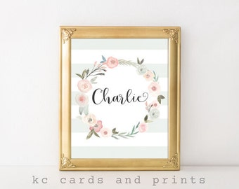 Pastel Nursery Wall Art, Charlie, Pastel Nursery Print, Pastel Girls Art, Custom Name, Girls Room Deocr, Digital Print for Instant Downloads