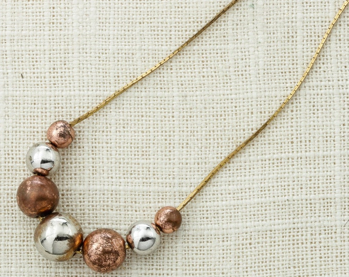 Metallic Necklace Vintage Chain Beads Silver Gold Rose Gold Tones Layering Necklace Costume Jewelry 16D