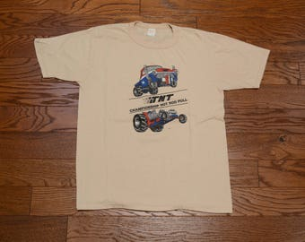 vintage 80s Tractor Pull t-shirt TNT Hot Rod Pull tan beige tee shirt 1980 soft thin burnout tee M/L NHRA monster truck Americana