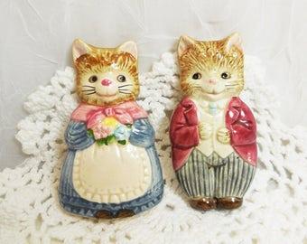 Vintage Otagiri Japan Mr & Mrs Whiskers Cat Magnets, Anthropomorphic Cats
