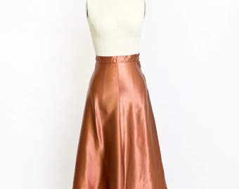 Vintage 1940s Skirt -Copper Liquid Satin A-Line High Waist 40s - XS Extra Sma