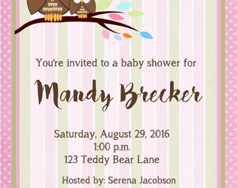 Look Who's Having a Baby Shower?  Look Who's Having a Girl Invitations, Owl Invitations, Owl Baby Shower Invitations, Baby Shower. Set of 24
