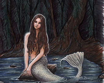 Dark Forest Mermaid - Original Fantasy Mermaid Illustration OOAK by Amanda Lanford