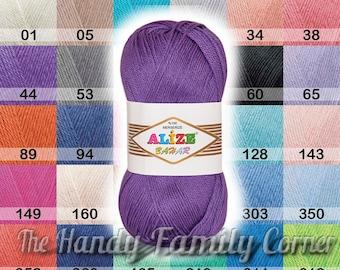 Alize Bahar 100% Mercerized Cotton yarn. Pure Cotton Eco friendly Hypoallergenic DK medium 8ply 13wpi Colour choice. DSH