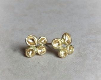 Stud Earrings in 18k Solid Gold . Podlet Studs . Gold Studs . Pod Earrings . Organic Studs . Gold Flower Studs . Flower Earrings