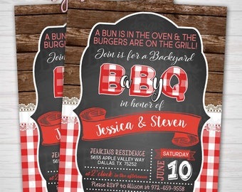 Baby-Q Baby Shower Invitation, Couples Co-Ed Backyard BBQ Shower, Customized Digital Download OR Prints (Details Below)