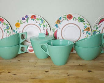Vintage 1960's Turquoise Sun Valley Melmac Cups + Sugar Creamer Set + Brookpark Fruit Saucers