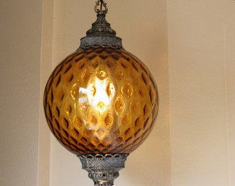 Vintage Amber Glass Round Hanging Light