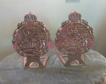 Vintage Brass Judaica Israel Wailing Wall Bookends / Tamar Brass Enamel Bookends