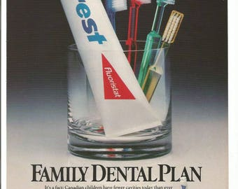 1986 Advertisement Crest Family Dental Plan Glass Toothbrushes Dentist Hygiene Bathroom Floristat Office Wall Art Decor