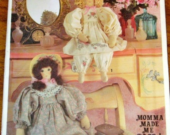 "Vintage Momma Made Me Do It Craft Sewing Pattern Simplicity 7842,  20"" Prairie Girl Victorian Shelf Sitter Doll, Clothes Uncut Factory Folds"