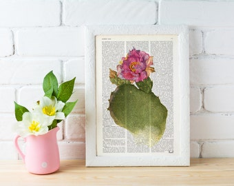 Summer Sale Opuntia cactus Flower dictionary print-Upcycled art  Printed on Vintage Dictionary Book page.wall art home decor BFL111