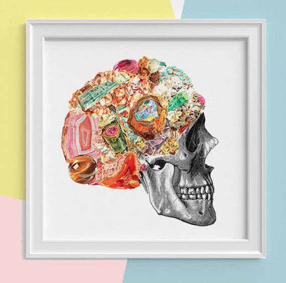 Spring Sale Skull with minerals Print, wall art, Human anatomy print Science student gift Human skull art print, skull prints SQK119