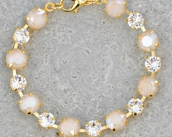 Beige Bridesmaid Rhinestone Bracelet Swarovski Crystal Ivory Cream Clear Crystal Diamond Tennis Bracelet Nude Jewelry Wedding Blush Cream
