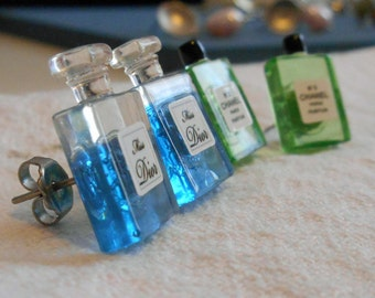 Miniature Perfume Bottle Studs - Miss Dior or No 5 Channel