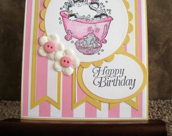 Handmade Birthday Card - Kitty in a Bubble Bath - Hand Stamped - Penny Black