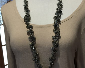 Chunky gunmetal chain necklace crystal and gunmetal beads