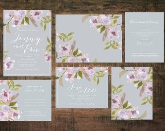 Spring in Bloom Wedding Invitation Set (Set of 25)   Wedding Invitation Suite, Watercolor Invitation, Floral, Pink, Purple, Invitation