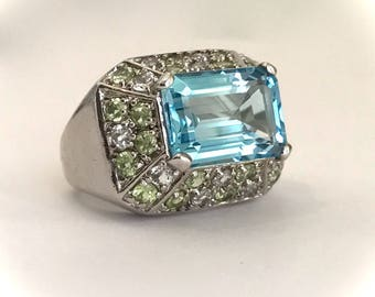 Vintage Sterling Silver Emerald Cut Aquamarine and Pave Estate Jewelry Ring Large Stone Blue Stone Statement Cocktail Ring Step Cut Ring