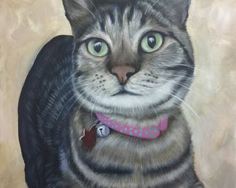custom cat portrait personalized pet painting on canvas acrylic 16x20
