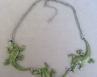 Crawling Swamp Green Crocodiles or Alligators Necklace
