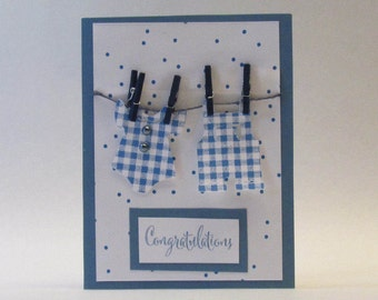 CONGRATULATIONS NEW ARRIVAL Card - Blue - Baby Clothes On Clothesline- Baby Boy - Hand Stamped