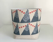 Fabric Storage Basket - Japanese Linen Grey Mountains - Modern Storage Container