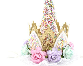 SPRINKLES|| Unicorn flower lace crown headband || Unicrown Ice Cream Party