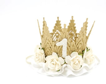 First Birthday lace crown    gold + white/ivory flowers + ribbon    mini Harlow   photography prop
