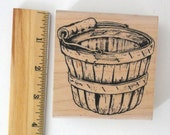 "River City Rubber Works ""Bushel Basket, Large"" #1749-N  Wood Mounted Rubber Stamp for Cardmaking Paper Crafts Scrapbooking Rubber Stamping"