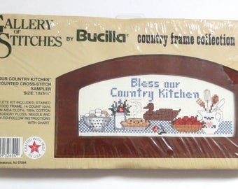 Vintage Bucilla Gallery of Stitches Counted Cross-Stitch Sampler Our Country Kitchen #32654 with Frame Home Kitchen Decor Apples Eggs