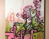 "Graffiti Art on Canvas Aliens Invade by Vinni Kiniki 30cm x 40cm *Original Art - Not Print!"""