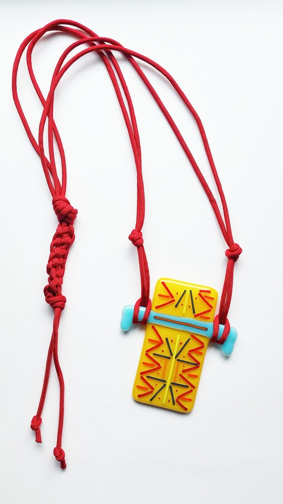 Yellow and Turquoise Glass and Marcrame Necklace