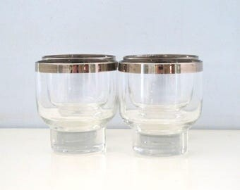 Vintage Set of 4 Silver Rimmed Tumbler Glasses