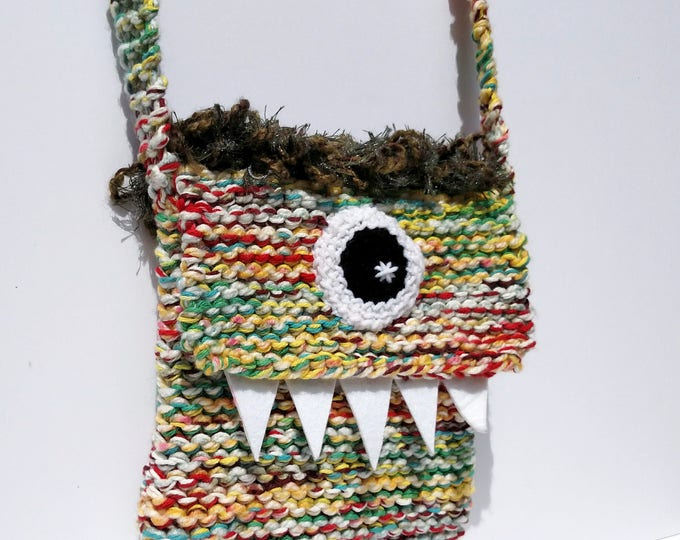Silly Cyclops Hand Knit Bag - Yellow and Green