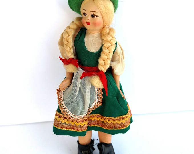 Vintage 1950's German Girl Doll in Traditional Costume