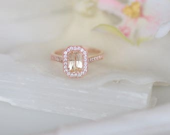 Vintage Design White Sapphire Halo Ring in 14k Gold of Any Color Main Stone Sold Separately