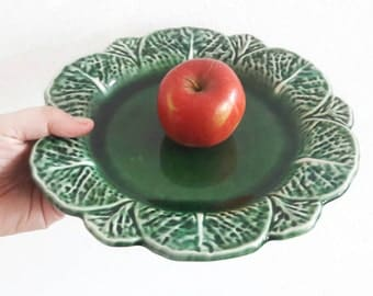 Vintage Bordallo Pinheiro Majolica Cabbage Leaf Serving Platter Made in Portugal