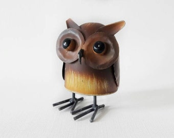 Vintage Metal Owl with Spring Hoptimist or Bobble Head Style