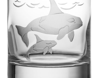 Orca, 13oz Rocks Glass, Etched (Sandblasted), Original Design