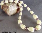 """Children's Necklace  - Vintage Resin Pikaki Beads from Hawaii, Pink Crystals - 14.5 + 2"""" - Hand Crafted Artisan Jewelry"""