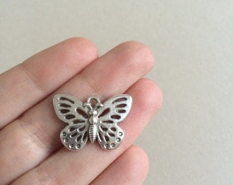 6 Antique Silver Butterfly Charms Silver Butterfly Pendants Necklace Charms Silver Pendants Insect Charms Silver Jewelry Charms 17mm x 25mm