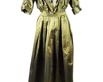 Vintage YVES SAINT LAURENT 2 Pc Iridescent Army Green Silk Evening Ruffled Blouse and Matching Ball gown Skirt Size 40