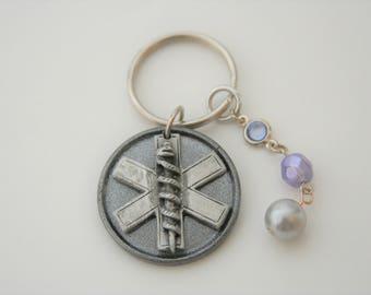 EMS Keychain EMT Key Ring Paramedic Ambulance - made from a metal medallion