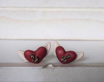Heart Cufflinks Flying Heart Cufflinks Angel Wings Tattoo Style