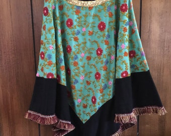 Vintage  Hand Beaded Hand Embroidered Peasant Hippie Boho Gypsy Skirt Size Large