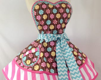 Retro Apron / Peppermint Party PInUp Apron, Ready To Ship